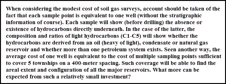 cost of soil gas surveys are modest in terms of benefits